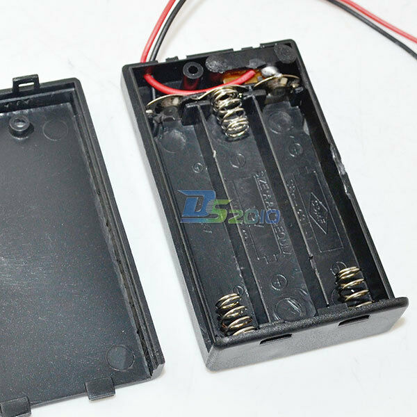 2/3/4x AA/AAA Battery Holder w/ Wire Lead Snap On Connector Enclosed Box Switch