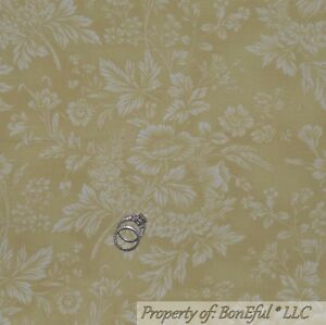 BonEful-FABRIC-FQ-Cotton-Quilt-VTG-Green-Flower-Natural-Leaf-Shabby-Chic-Cottage