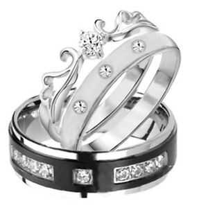 image is loading his amp hers 3 pieces mens amp womens - Titanium Wedding Ring Sets