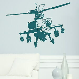 MILITARY-HELICOPTER-APACHE-wall-art-stickers-transfer-kids-graphic-stencil-ne13