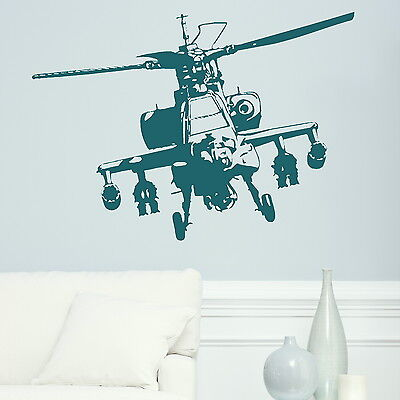 MILITARY HELICOPTER APACHE wall art stickers transfer kids graphic stencil ne13