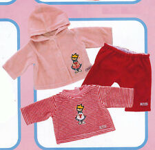 Sigibaby Outfit Baby Doll Clothing T-Shirt Pants and Hooded Jacket Set NEW 26784