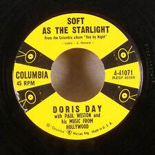"Doris Day Paul Weston Soft as the Starlight Walk A Chalk LIne 7"" 45 Columbia VG"