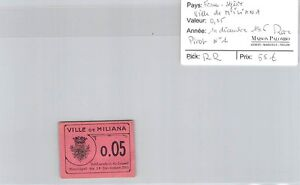 Bille De Necessite France - Algerie Ville De Miliana - 0.05 F - 14.12.1916- Rare Uanpu9jn-08011926-214907216