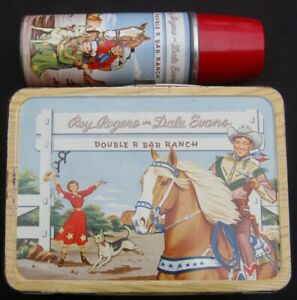 Vintage ROY ROGERS Lunchbox & Thermos - Rare Key (1954 Red Band) C-7.5/C-8 Nice!