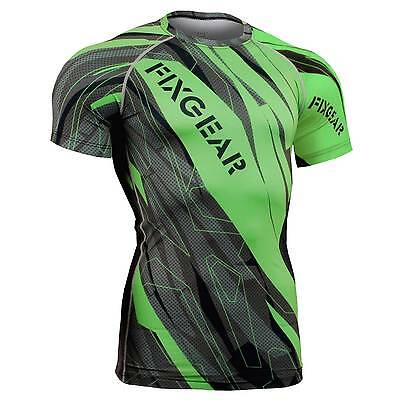 FIXGEAR CFS-68G Compression Base Layer Short Sleeve Shirts, Workout Fitness MMA