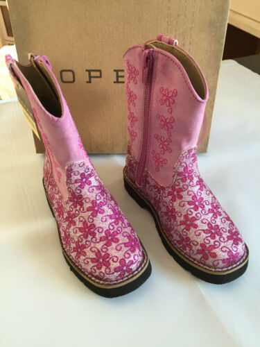 BNWT Little Girls Sz UK 5.5 US 6 Roper Cute Glitter Pink Zip Side Western Boots