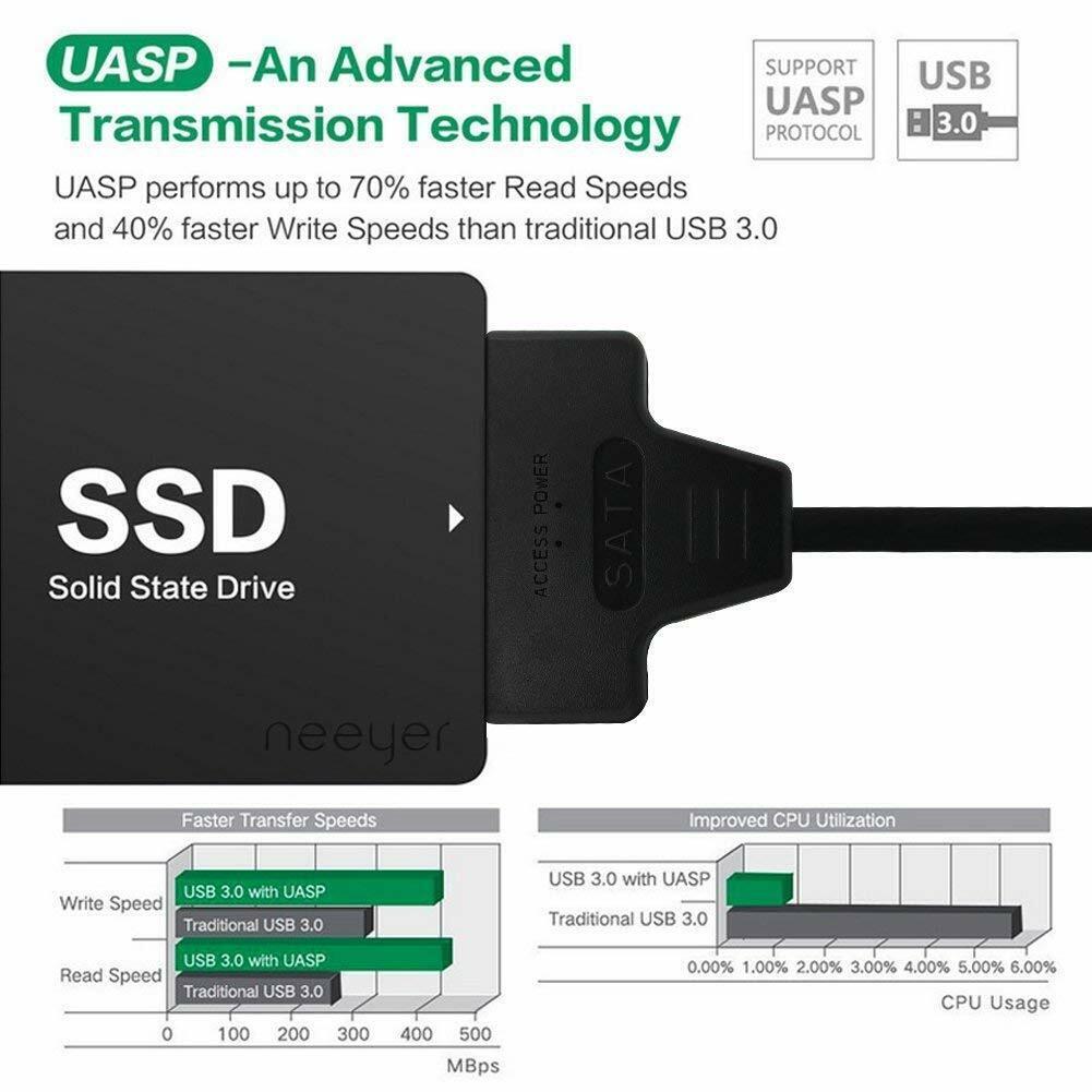 "USB 3.0 to 2.5"" SATA III Hard Drive Adapter Cable/UASP -SATA to USB3.0 Converter 5"
