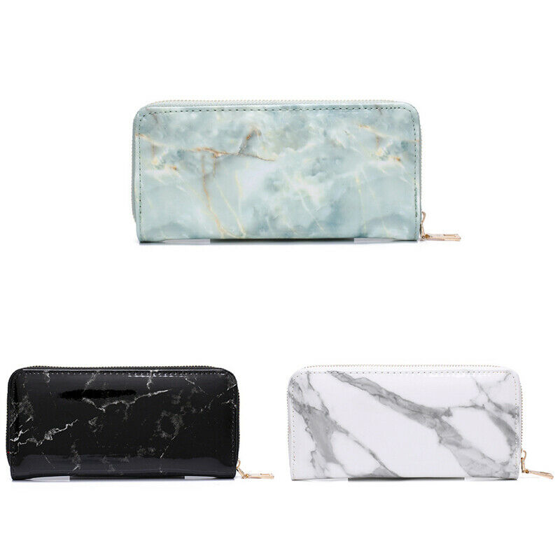 Casual Lady Wallets Purses Totes Marble Patent Leather Clutch Bags Girls Zi B8J7