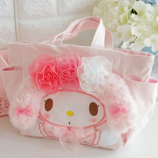 My melody rose fuzzy canvas Lunch box bag handbag small storage handbag