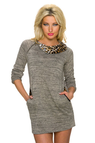Femmes pull leopard pull pull long pull Mini robe s 34 36 38 Nouveau