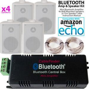 SMART-HOME-Bluetooth-Amplifier-amp-4-White-Wall-Mount-Speaker-Kit-Compact-HiFi-Amp