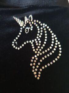 Girls-personalised-Unicorn-Gymnastic-shorts-Black-high-Quaility-Velour-by-Selani