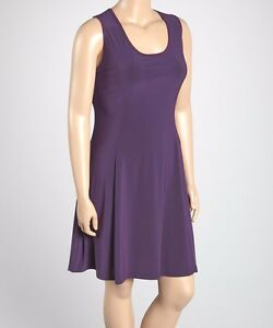 Details about New Women\'s Plus Size Eggplant Purple Sleeveless Above Knee  Shift Dress Size 1X