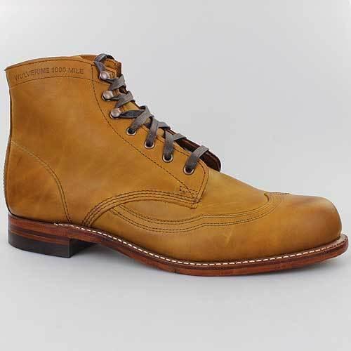 Wolverine Messieurs Bottes 1000 mi Eddison beige marron en cuir Véritable Chaussures w05343