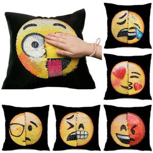 REVERSIBLE-Emoji-Lentejuelas-Funda-De-Cojin-cara-sonriente-Manta-Funda-Almohada