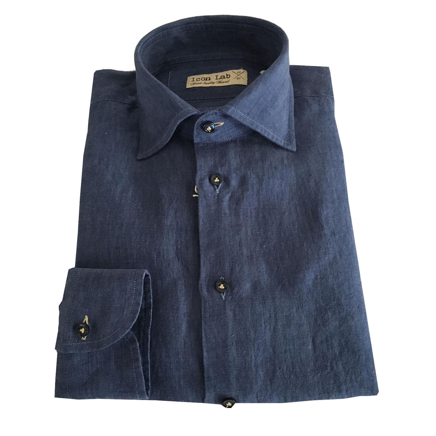 ICON LAB 1961 men's shirts long sleeve 100% linen denim bluee asola coloured