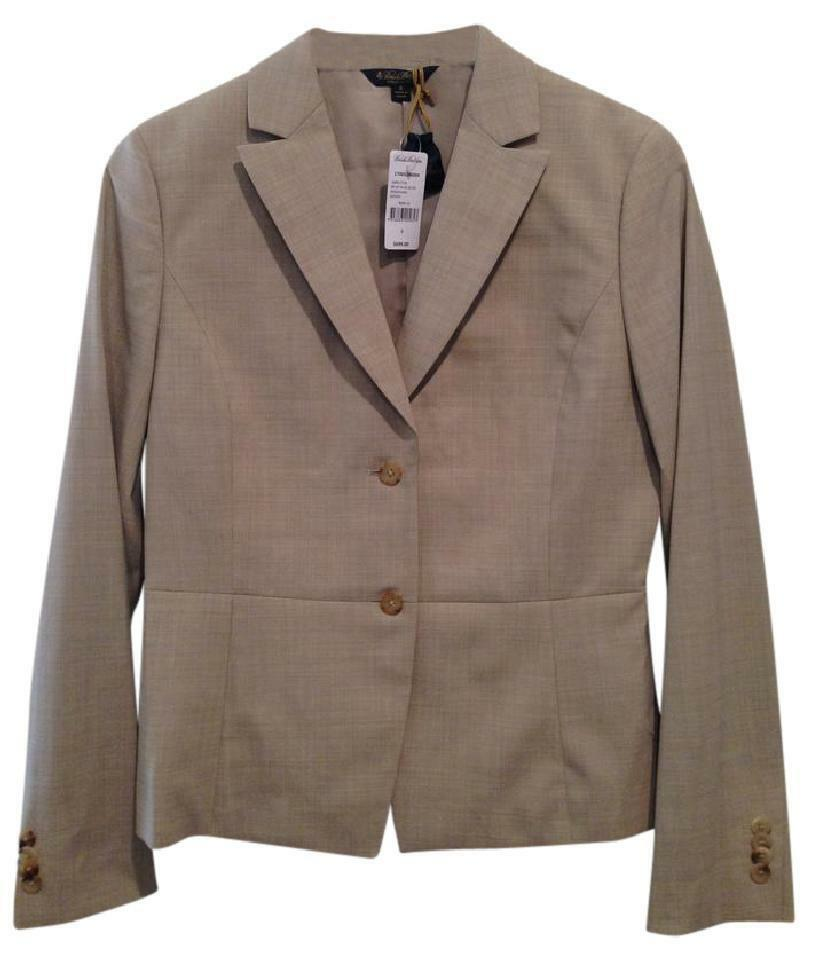 Brooks Bredhers Womens Tan Light Wool Blazer Small 6 New NWT