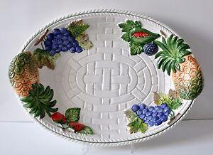 bassano keramik obstschale oval 40 cm ananas feige relief mediterranes geschirr ebay. Black Bedroom Furniture Sets. Home Design Ideas