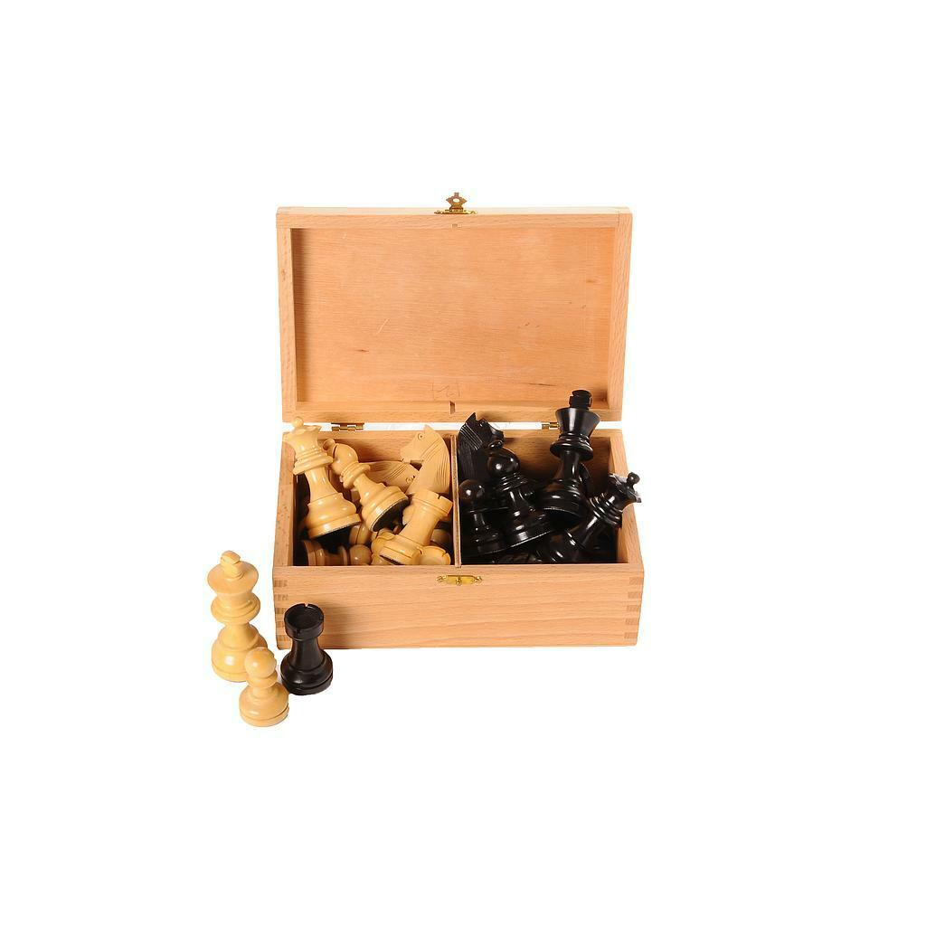 Wooden Chess pieces in storage box, assorted sizes available