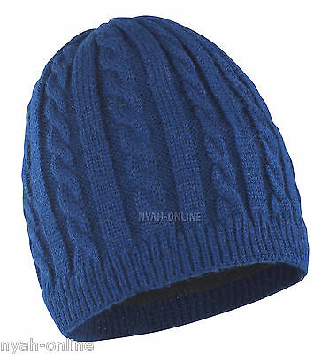 NEW CABLE KNITTED BEANIE HAT *PLAIN* MENS WOMENS UNISEX WARM WINTER WOOLY CAP
