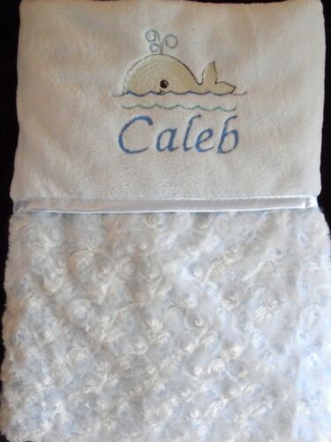 Personalised Rosebud Baby Blanket Embroiderded Whale Motif Blue Boy Gift
