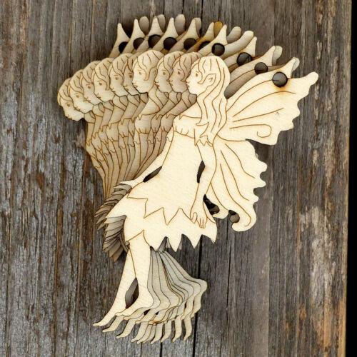10x Wooden Fairies Hovering Craft Shapes 3mm Plywood Classic Style