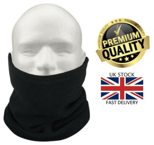 New Mens /& Women/'s Thermal Polar Fleece Black Neck Warmer Snood Scarf Ski Hat