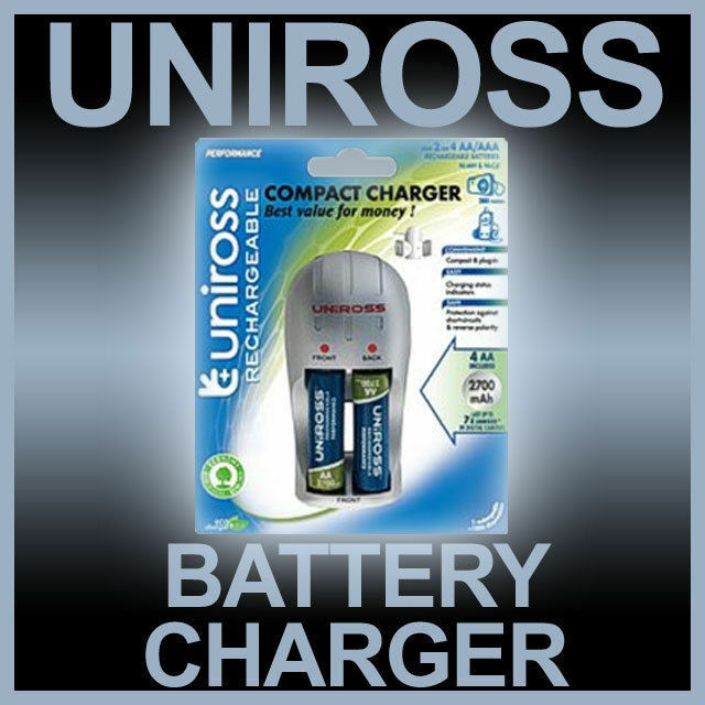 Uniross Compact Battery Charger Inc 4 AA Batteries