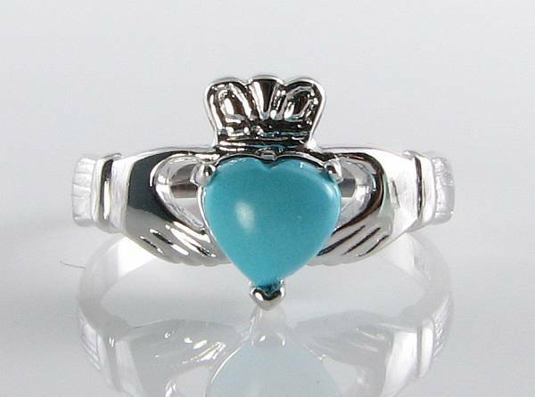 CLASS 9K 9CT WHITE gold TURQUOISE CLADDAGH HEART ART DECO INS RING FREE RESIZE
