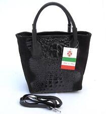 Made in Italy Damen ECHT Leder Kroko Tasche Handtasche schwarz ! Wunderschön !