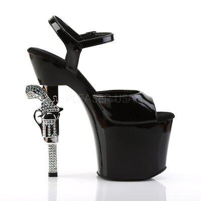 Pleaser Revolver-708 Ladies Clear Stiletto Heel Platform Slide Pole Dance Shoes