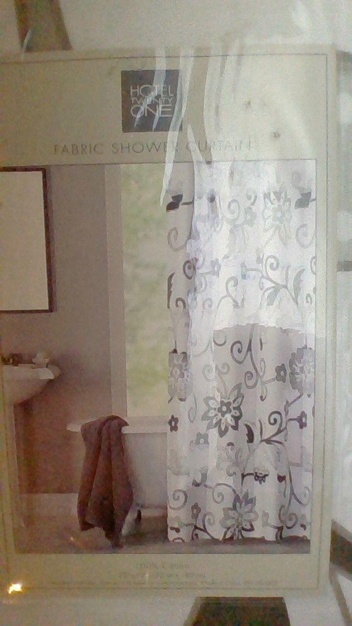 Hotel Twenty One Floral Neutral Design Cotton Fabric Shower Curtain NIP Ad5c2f
