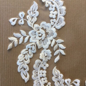 1-Pair-Applique-Lace-Trim-Embroidery-Sewing-Motif-DIY-Wedding-Bridal-Crafts-NP2Z