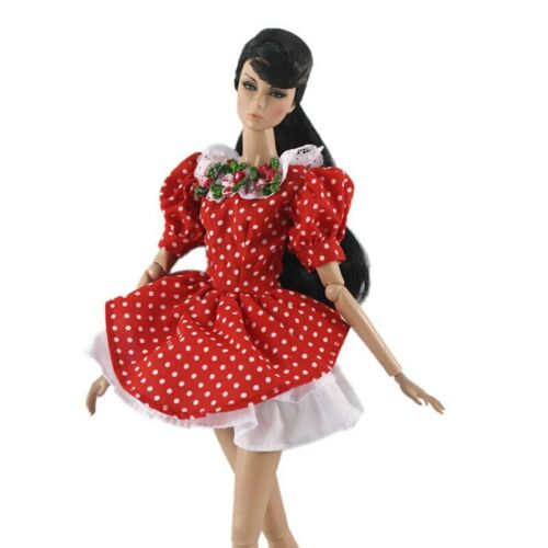 """Red Polka Doll Clothes For 11.5/"""" 1//6 Doll Dress Gown Short Dresses Outfits Toy"""