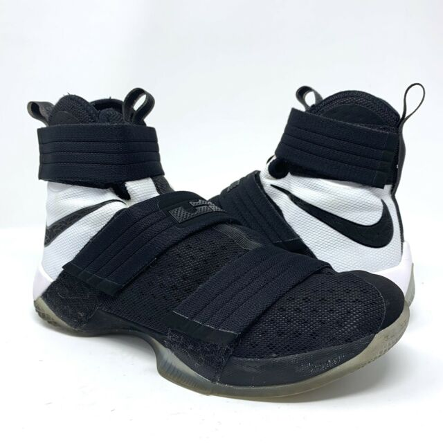new style 00d7d d2e1d NIKE LEBRON SOLDIER 10 X SFG Men's Basketball Shoes 844378-001 Black White  Sz 9