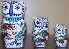 "6"", 4"" & 3"" High Turkish Handmade Iznik Floral Pattern Ceramic OWL Figurine Set"