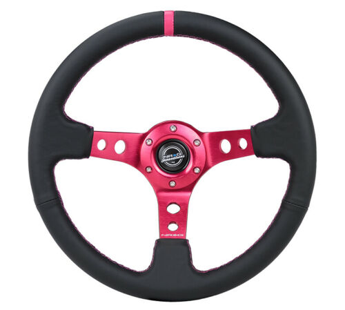 NEW NRG Deep Dish Steering Wheel 350mm Black Leather Fushia Stitch RST-006FH