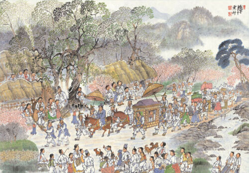 Jigsaw Puzzle 1000 Pieces Art Painting Choseon Wedding Parade Fork Landscapes