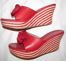 JEFFREY CAMPBRELL red and white stripe wedge mules rosette shoes 9 M