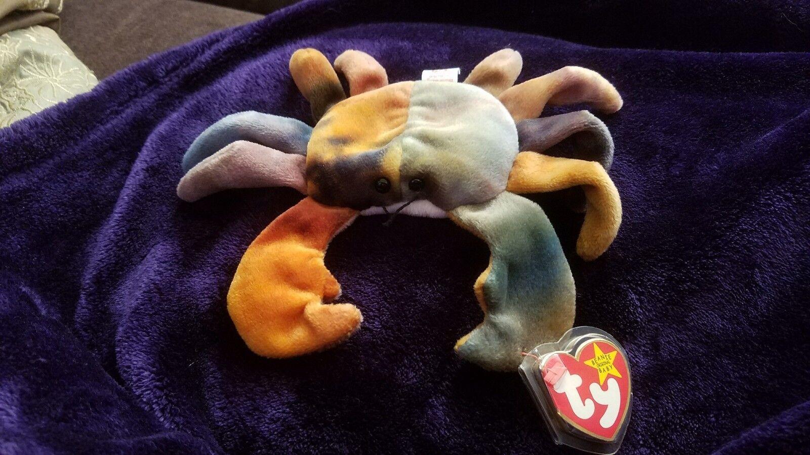Original - ty beanie baby - claude w   fehler im ruhestand crab w   tag selten mint