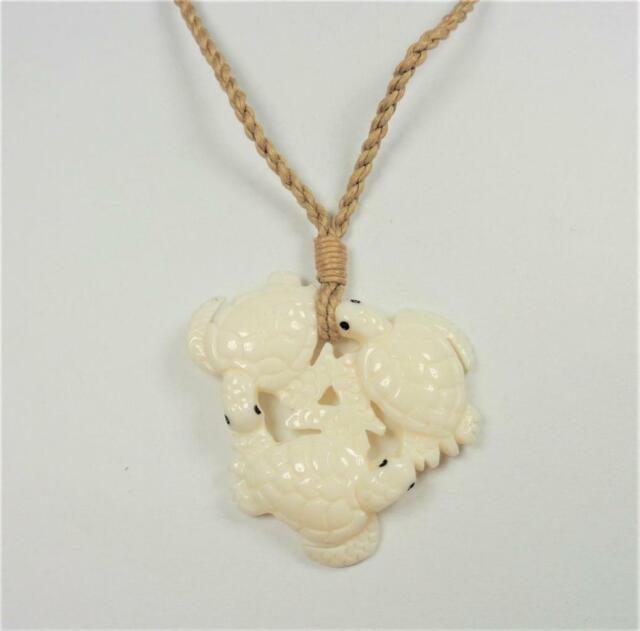 Beach Fashion Hawaiian Hand Carved Bone 3 Sea Turtles Sea Life Pendant Necklace For Sale Online Ebay