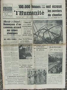 L Humanite 16 Janv 1964 Catastrophe Chantier Perichaux Travail