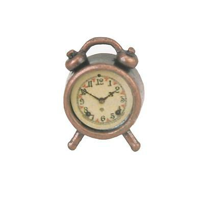 Vintage 1/12 Scale Metal Alarm Clock Dolls House Miniature Bedroom Accessory New