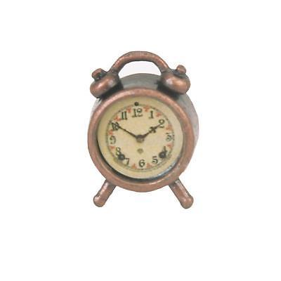 Vintage 1/12 Scale Metal Alarm Clock Dolls House Miniature Bedroom Accessory New