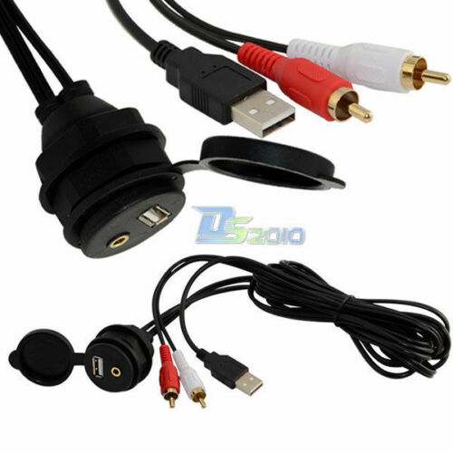 Car Dash Mount Installation 3.5mm 2RCA USB AUX Data Charging waterproof Cable