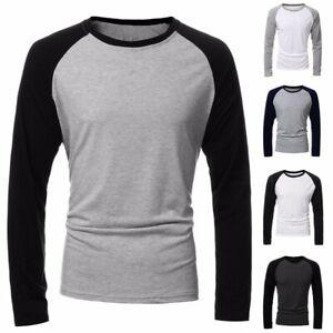 Mens-Autumn-Long-Sleeve-Casual-Slim-Crew-Neck-Raglan-Baseball-Tee-Tops-T-shirts