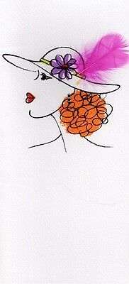 HANDCRAFTED GREETING CARDS SPECIAL FEMALE FEATHER CARD BLANK INSIDE ANY OCCASION