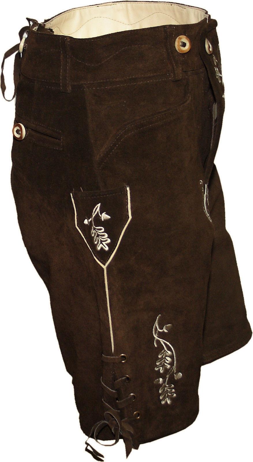 Kurze Trachtenlederhose Trachtenlederhose Trachtenlederhose Stegträger Lederhose braun   Verschiedene Waren  5294a9
