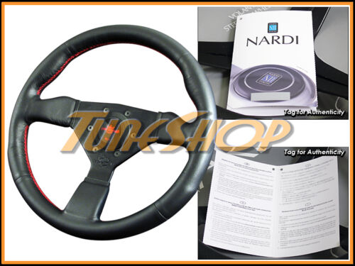 ITALY PERSONAL NEO GRINTA 330MM STEERING WHEEL BLACK LEATHER RED STICHING HORN